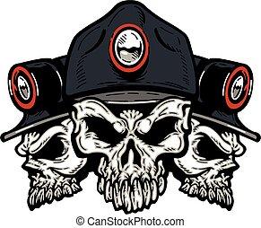 coal miner skulls - three coal miner skulls