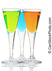 Three cocktails with reflections