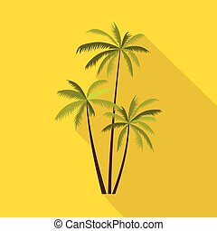 Three coconut palm trees icon, flat style