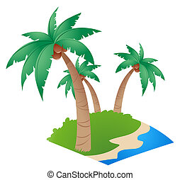 coconut tree - three coconut trees by the beach on a white...