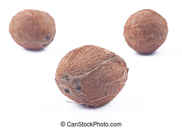 Three coconuts on white background