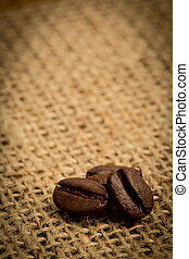 Three coffee beans with copy space