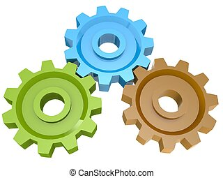 Three cogs - Hi-res original 3d-rendered computer generated...