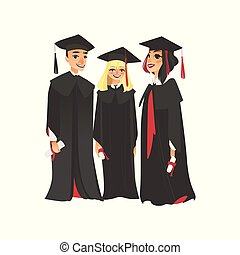 Three college graduates in graduation cap and gown