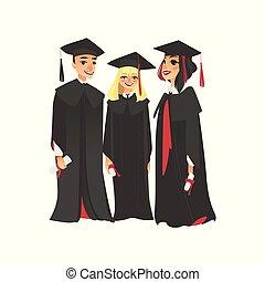 Three college graduates in graduation cap and gown