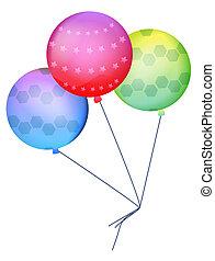 ballon - three color ballons on the white background