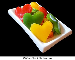 three color bell pepper's hearts