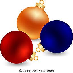 three color christmas ball - three christmas bal isolated on...
