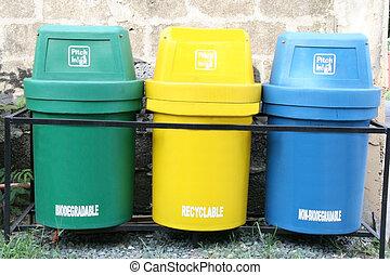 waste segregation - three color coded trash bin for waste ...