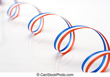 curl ribbon - Three color curl ribbon on white background