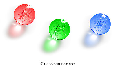 Three color glass balls with bubbles inside