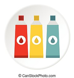 Three color paint in tube icon, flat style