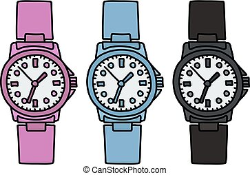 Three color plastic watches