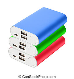 Three color portable powebanks isolated on white background