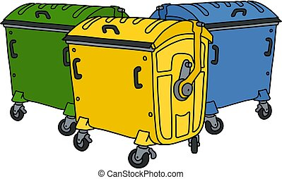 Three color recycling containers