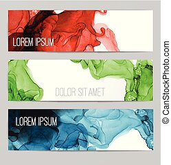 Three colored banners with abstract alcohole ink painting on white background with place for your text.