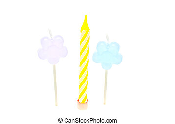 three colored Candles on white