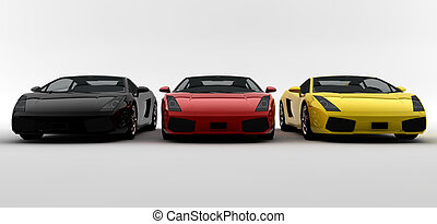 Three Modern Sports Cars Primary Colors Side By Side Stock - Modern sports cars
