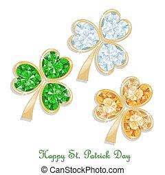 Three colored clover diamond