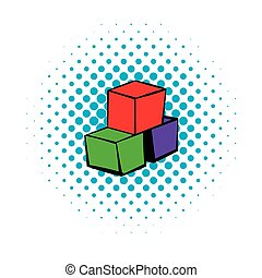 Three colored cubes icon, comics style