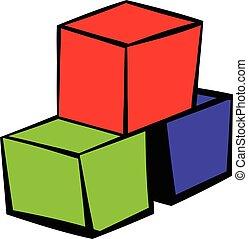 Three colored cubes icon, icon cartoon