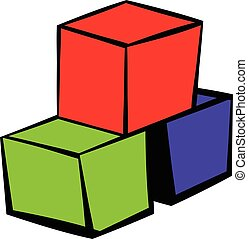 Three colored cubes icon, icon cartoon