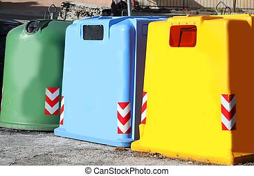 three colored dumpster to collect glass used paper and plastic m