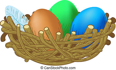 three colored eggs lie in a nest