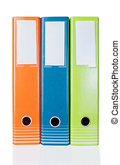 Three colored folders for office clerical. On a white background.