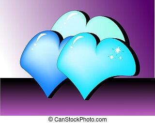 Three colored hearts