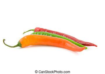 Three colored hot pepper