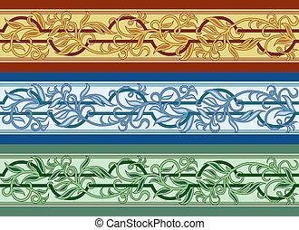 three colored ornament - vector