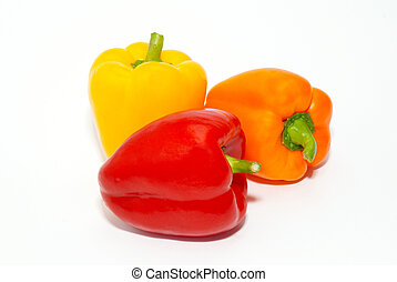 Three colored paprika isolated on white.
