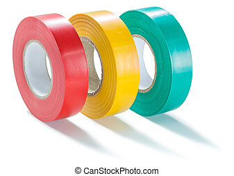 three colored rolls of insulate tape isolated