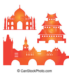 buildings - three colored silhouettes of famous buildings...
