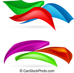 Three colorful abstract forms