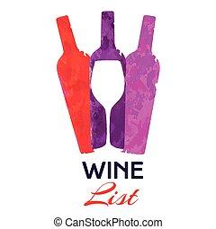 Three Colorful Bottles of Wine List