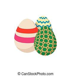 Three colorful easter eggs cartoon icon