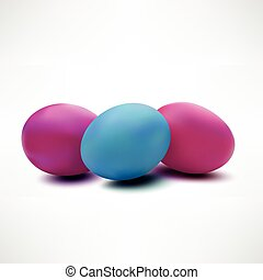 Three colorful easter eggs isolated on white