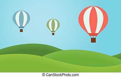 Three colorful hot air balloons flying over the landscape with grassy hills and blue sky - vector, flat design