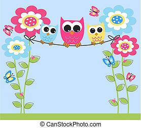 three colorful owls