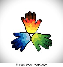 Three colorful paint splashes on kid's hands(green,orange & blue)- vector graphic. This illustration consists of three children's or kid's hands with splash of spilled colors of orange,green & blue