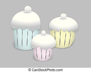 colorful painted cupcakes to creamy caps on a gray background