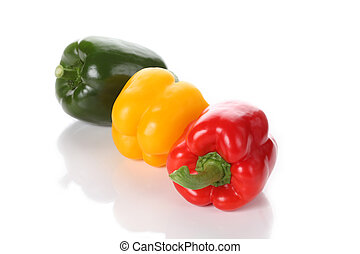 Three colorful peppers