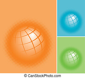 three colorful planet earths