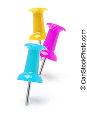 Three colorful push pins