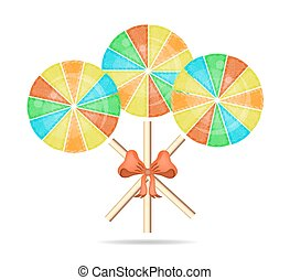 Three colorful, round, isolated lollipops with red bow and pattern, white background