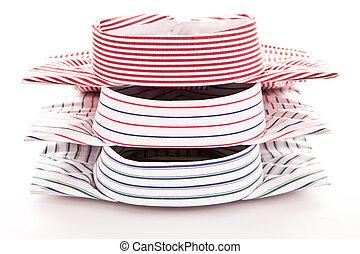 Three colorful shirts - Collars of three colorful mens...