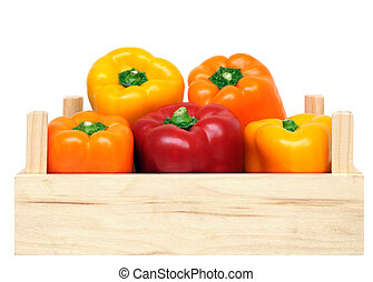 three colorful sweet peppers