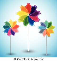 Three colorful windmills on blue background.